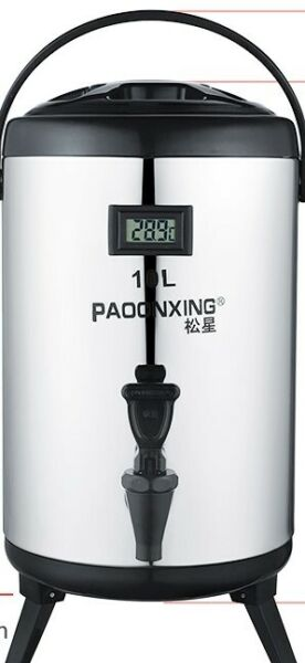 USED GOOD CONDITION 304-STAINLESS STEEL 12L DOUBLE HULL THERMOS WATER DISPENSER+ TEMPERATURE SCREEN