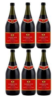 6 Flaschen Lambrusco Puglia a 1,5 L 8 % vol. Lieblich Rotwein