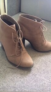 Nude suede boots