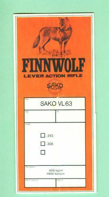 Sako Model FINNWOLF VL63 Factory Owners Instructions Manual Reproduction