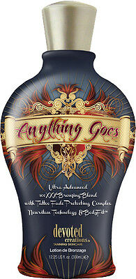 ANYTHING GOES 100XXX Dark Bronzer Indoor Tanning Bed Lotion by Devoted Creations