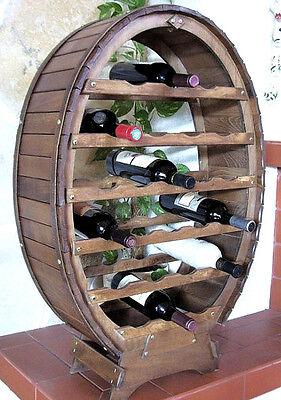 Weinregal Weinfass für 24 Flaschen Braun gebeizt Bar Flaschenständer Fass Regal