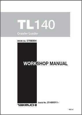 Takeuchi Tl140 Crawler Loader Service Workshop Parts Manual On A Cd - Tl 140