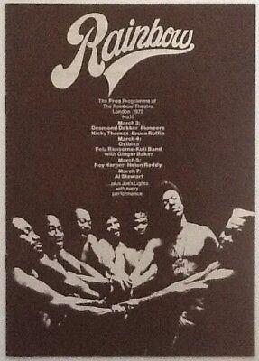Desmond Dekker Al Stewart Concert Programme Rainbow Theatre London Mar 1972