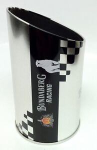BUNDABERG RUM OFFICIAL SILVER 'CAR EXHAUST PIPE' BUNDY STUBBY HOLDER ($19.99rrp)