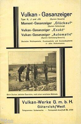 Vulkan Werke Gütersloh Prospekt und Bedienungsanleitung Gasanzeiger um 1932