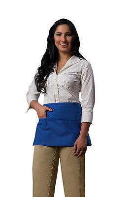 3 Pocket Waist Apron Cobalt Waiter Waitress Bar Staff Craft Made In Usa New