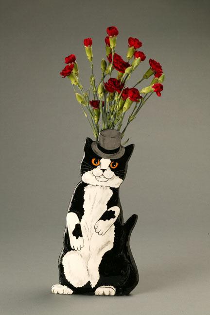 CATS BY NINA Top Hat Tuxedo Cat vase seller Nina