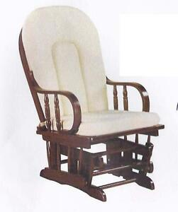 NEUF Chaise bercante en bois EXPRESSO et coussin tissu TAN(Douglass)