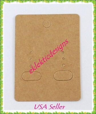 100pcs 2 X 2.5 Blank Kraft Goldenrod Camel Rectangle Earring Display Cards