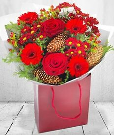 Christmas festive fresh flowers delivered Liverpool