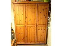 Antique 3 Door Solid Pine Wardrobe - LOCAL FREE DELIVERY