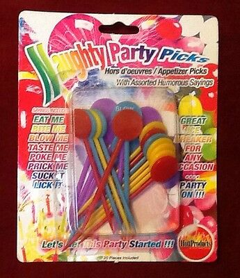 Food Picks Appetizer Assorted Naughty Funny Sayings Cupcake Party Pick Gag Gifts