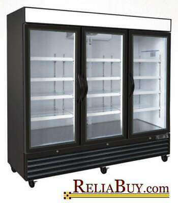 72cf Commercial 3-door Glass Door Display Ice Cream Merchandiser Freezer New