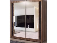 = BRAND NEW !!! BERLIN 2 DOOR WARDROBE AVAILABLE IN 4 COLOURS BLACK WALNUT WENGE AND WHITE