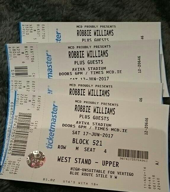 Robbie Williams Concert - 4 x Seated Dublin 17/06/17