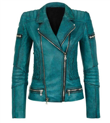 Slim Fit Diamond Quilted Moto Teal Leather Jacket - Best Price