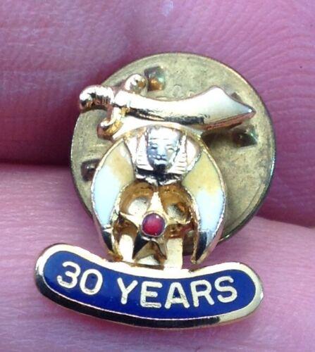 "Shriners ""30 YEAR"" Lapel Pin Tie Tack, Enamel? Pinch Back."
