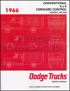 1966 Dodge Truck Shop Manual 66 Pickup Power Wagon D100-D800 W100-WM300 Service