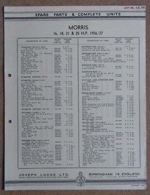 Morris 16, 18, 21 & 25hp models  1936/37   Lucas Parts List 275