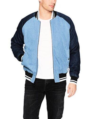Calvin Klein Jeans Mens Denim Baseball Logo Bomber Jacket M-