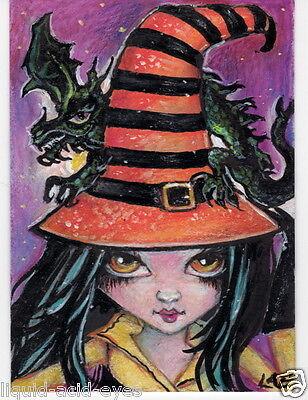 Aceo PRINT witch dragon halloween zombie big eyes girl #31 art Liquid Acid Eyes](Halloween Big Eyes)