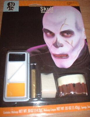 Scary SKULL MAKEUP KIT Bloody FALSE TEETH 4pcs Halloween MONSTER Ghoul - Halloween Skull Teeth Makeup