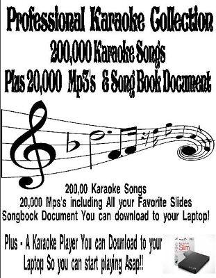 Karaoke Harddrive- 200,000 Songs, 20,000 Mp3's , Player & Printable Song List!