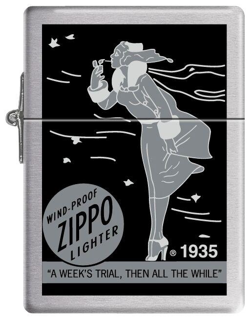 Zippo Windproof Replica 1935 Lighter With Black & Gray Windy, New In Box