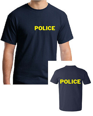 POLICE NAVY T-SHIRT YELLOW - FANCY DRESS MANY SIZES FOR MEN,WOMEN AND - Navy Fancy Dress For Womens