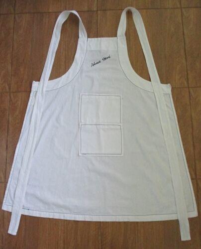 hanae mori japanese designer apron 2 pockets white cotton full bib movie tv show