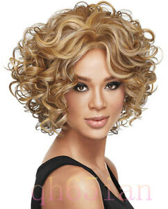 Ladies fashion Curly mixed blonde Natural Hair Women's Wigs + wig cap