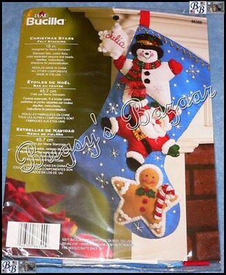 Bucilla CHRISTMAS STARS STOCKING Santa, Gingerbread, Snowman Felt Kit - 86300 (Stocking Stars)