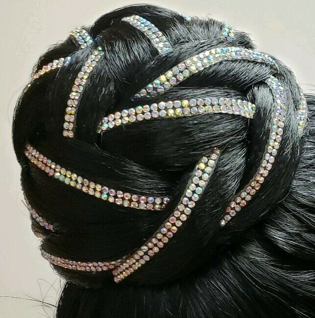 Gorgeous Ballroom Latin Dance Hair Chignon Crystal AB Bun Hairpiece