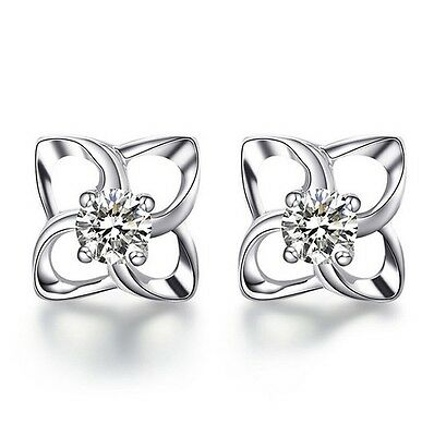 8mm Sterling Silver Clover Flower Studs 4mm Round Cubic Zirconia Gift Box K15A