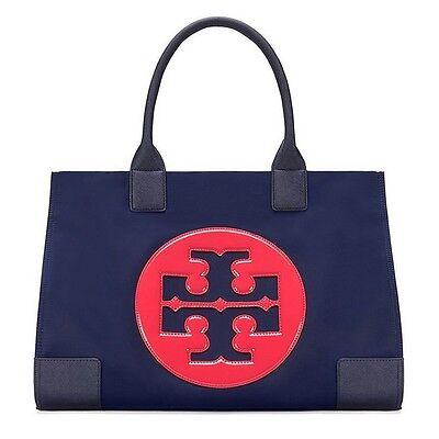 Authentic Tory Burch Nylon Ella Color-Block Tote Bag Large Royal Navy Handbag