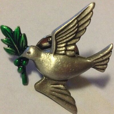 Jj Vintage Peace Dove With Olive Branch Pewter Tack Pin