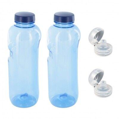 2 x 1 L Trinkflasche aus Tritan mit 2 x Trinkdeckel Flip Top Sportdeckel