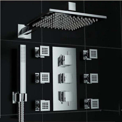 """Thermostatic 8""""Chrome Rainfall Shower Faucet Spa Manipulate Jets Hand Sprayer Mixer"""