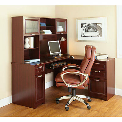 New L-shaped Office Desk Hutch Computer Executive Cherry Free Delivery