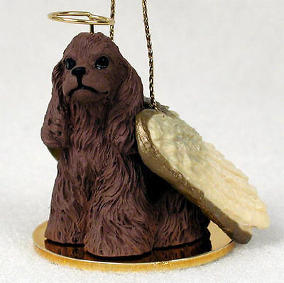 Cocker Spaniel Ornament Angel Figurine Hand Painted Brown