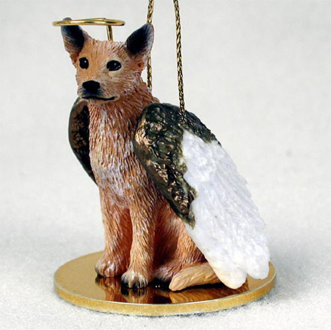 Australian Cattle Dog Ornament Angel Figurine Hand Painted Red