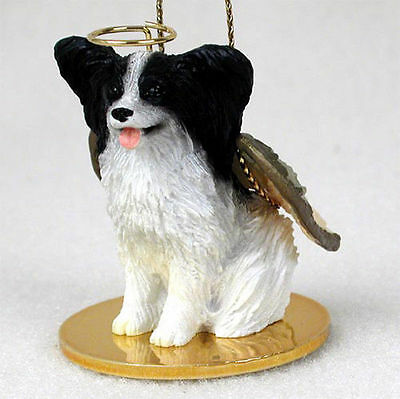 Angel Collectible Dog Ornament - Papillon Ornament Angel Figurine Hand Painted Black/White