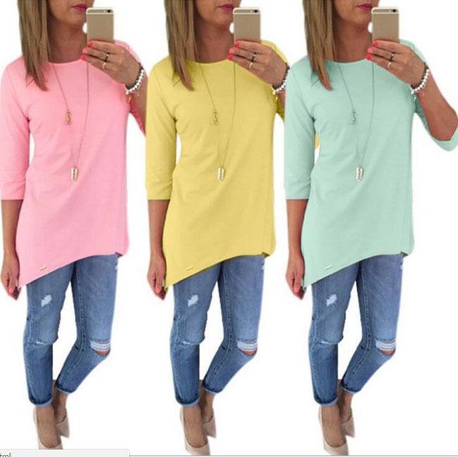 Womens Casual Three Quarter Sleeve T-Shirt Cotton Blouse Tops T-Shirt B11