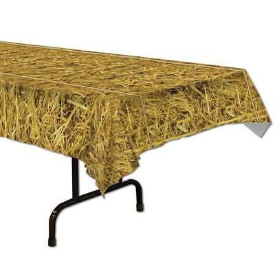 Straw Plastic Banquet Tablecloth Farm Hay Table Cover Western Cowboy - Straw Table