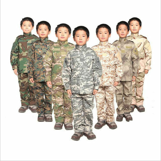 7475 Kids Camo Uniform Boys CS Tactical Military Outfits Training Jacket+Pants