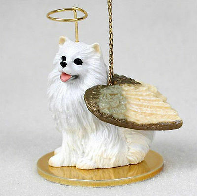 Mini American Eskimo Dog Figurine Angel Statue