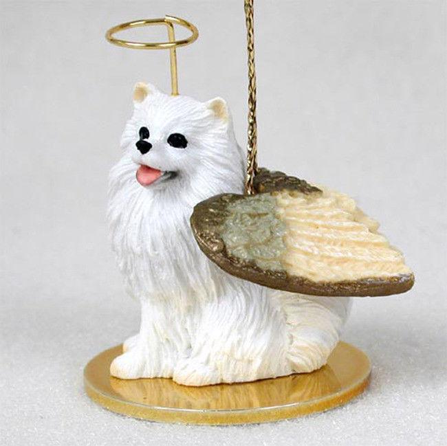 Mini American Eskimo Ornament Angel Figurine Hand Painted