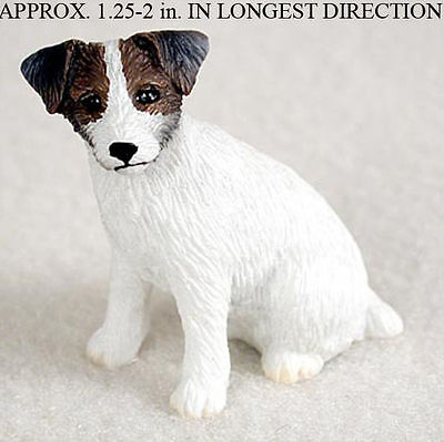 Jack Russell Rough - Jack Russell Terrier Mini Hand Painted Figurine Brwn/Wht Rough