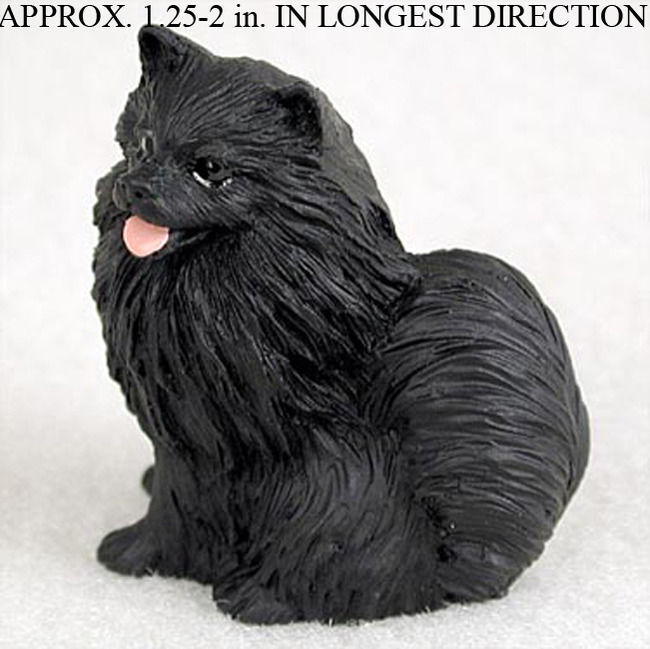 Pomeranian Mini Hand Painted Figurine Black